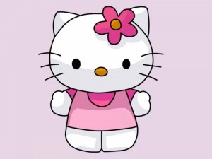 Hello Kitty con una flor rosa