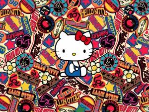 Postal: Pegatinas variadas de Hello Kitty