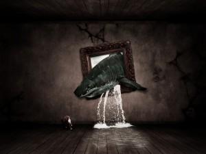 Tiburón hambriento fuera del cuadro