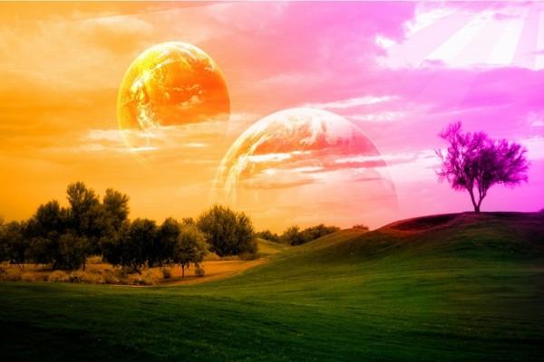 Planetas en un cielo de colores