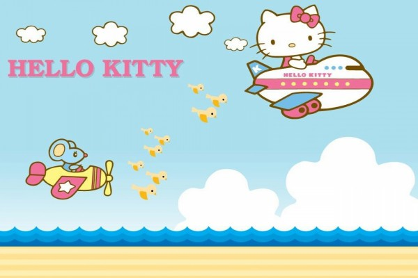 Hello Kitty volando en avión