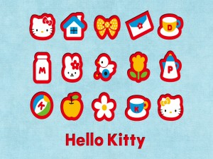 Postal: Pequeños iconos de Hello Kitty