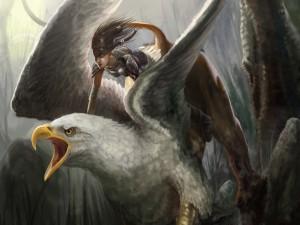 Mujer sobre un ser con cabeza de águila