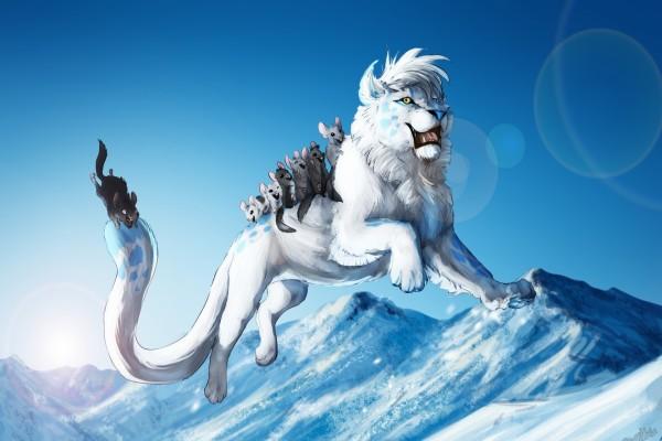 Alegres ratones a lomos de un león blanco