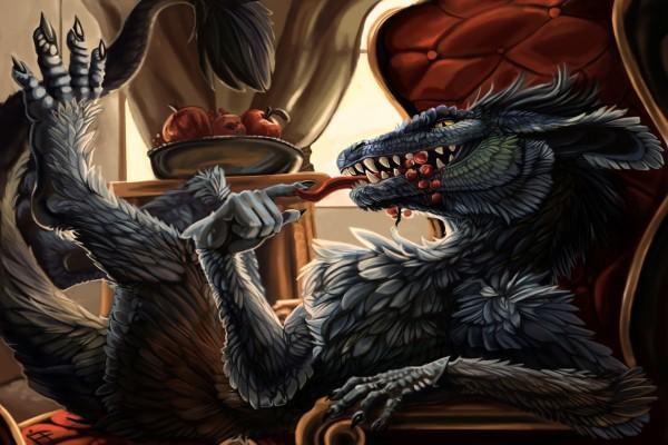 Un dragón comiendo uvas
