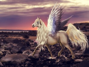 Un caballo alado caminando sobre las rocas