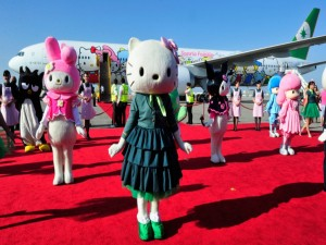 Hello Kitty en la inauguración de su propio avión