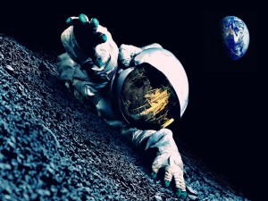 Postal: Astronauta en apuros