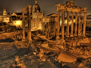 Postal: Ruinas en una ciudad