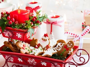 Postal: Galletas y adornos para Navidad