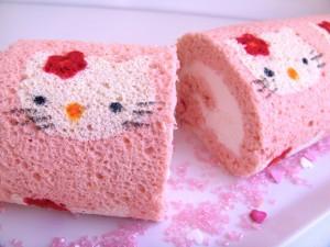 Bonito pastel con la cara de Hello Kitty