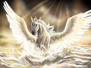 Rayos de luz iluminando a un caballo blanco con alas