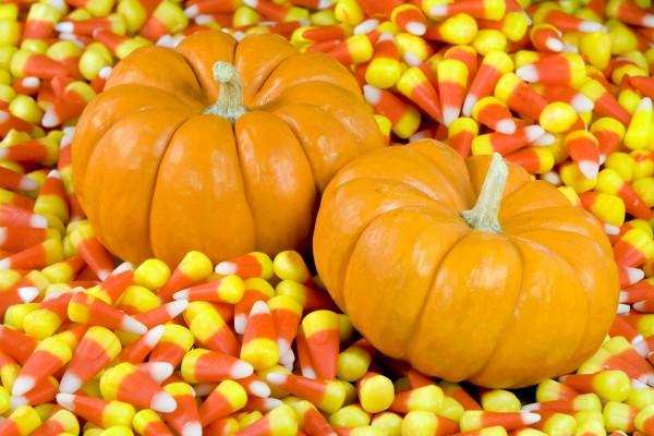 Calabazas sobre caramelos para Halloween