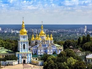 Postal: Monasterio de San Miguel de las Cúpulas Doradas (Kiev, Ucrania)