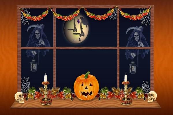 Ventana adornada para la noche de Halloween