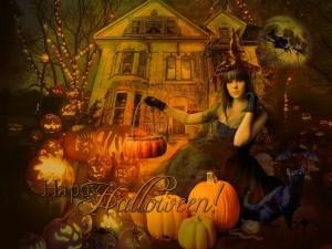 """Postal: Una joven bruja deseando un """"Feliz Halloween"""""""