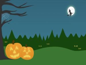 Bruja junto a la luna en la noche de Halloween