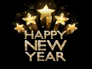 """""""Feliz Año Nuevo"""" con diamantes y estrellas"""