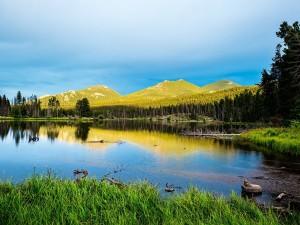 Postal: Sprague Lake, Parque Nacional de las Montañas Rocosas (Colorado)
