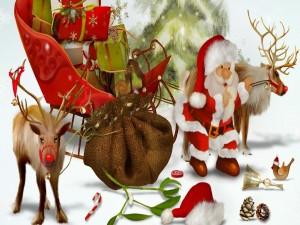 Postal: Papá Noel cargando regalos en el trineo