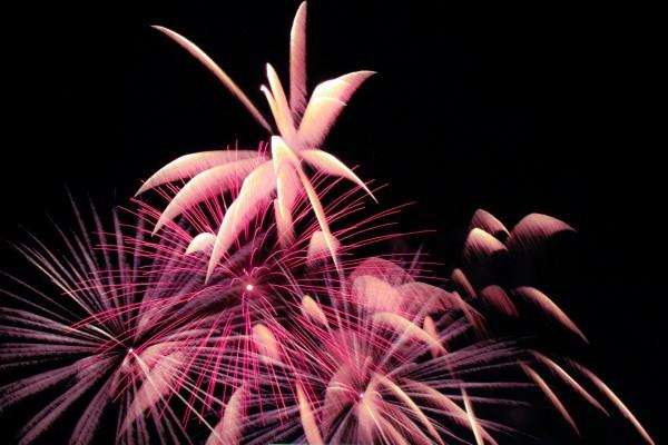 Bonitos fuegos artificiales en un cielo negro