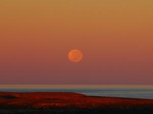 La luna sobre el mar al anochecer