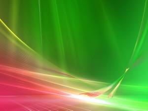 Postal: Fondo verde y rojizo con líneas luminosas