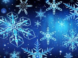 Postal: Copos de nieve en fondo azul