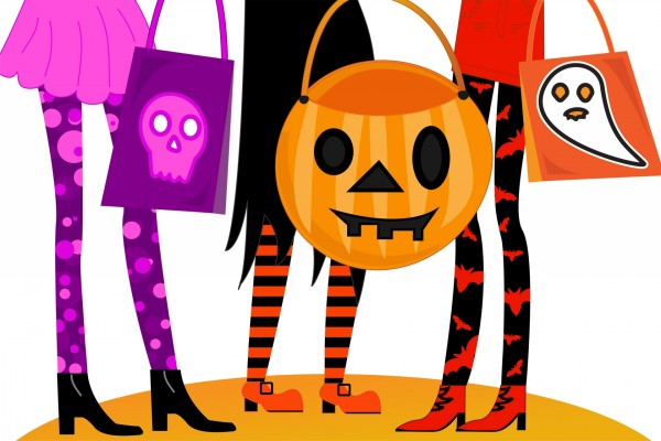 Brujas con bolsas de Halloween