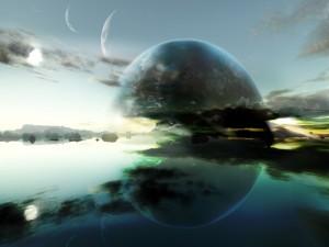 Postal: Planeta reflejado en el agua