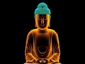 Postal: Buda dorado en fondo negro