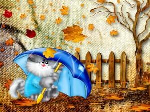 Postal: Gatito bajo la lluvia en otoño