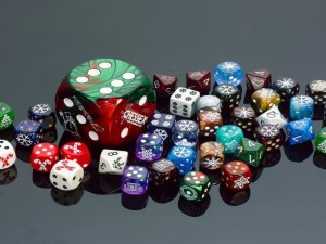 Dados navideños para juegos de azar