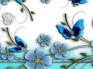 Postal: Mariposas y flores azules