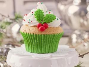 Postal: Cupcake adornado para los días de Navidad