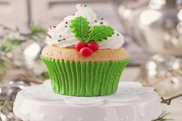 Cupcake adornado para los días de Navidad