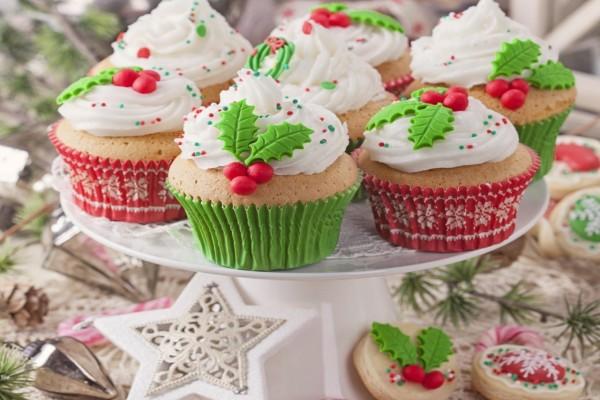 Cupcakes, galletas y otros adornos de Navidad
