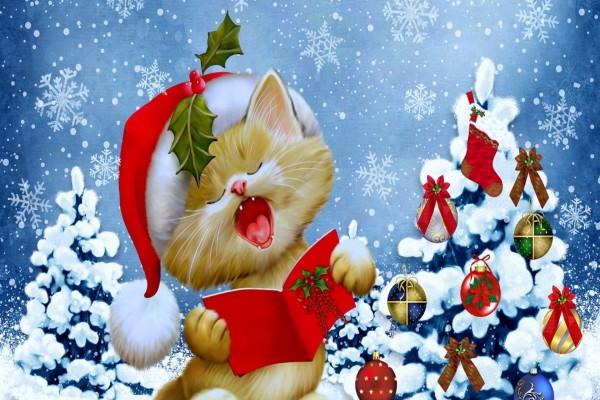 Alegre gatito entonando canciones la noche de Navidad