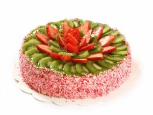 Postal: Tarta con kiwi y fresas