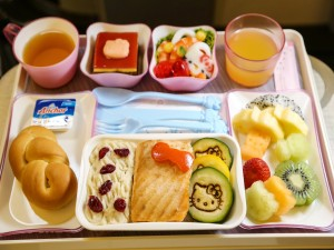 Postal: Comida en el avión de Hello Kitty