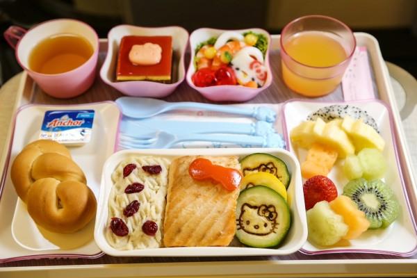 Comida en el avión de Hello Kitty