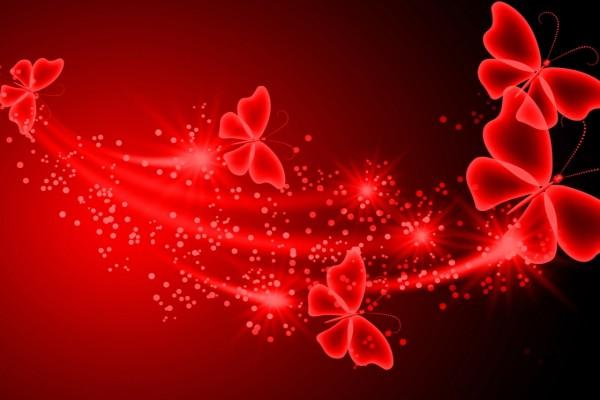 Bellas mariposas rojas con destellos