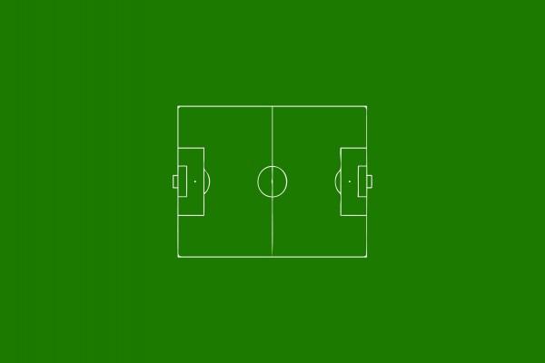 Campo de fútbol en un fondo verde