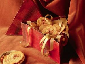 Postal: Pastas finas con almendras