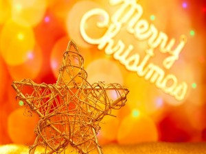 Postal: Estrella y Feliz Navidad