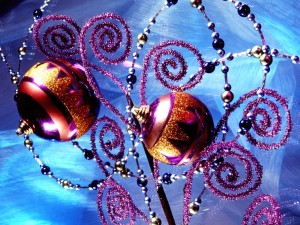 Postal: Bolas con purpurina para Navidad
