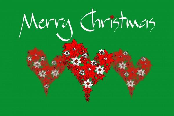 Corazones de flores y Feliz Navidad