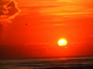 Postal: El sol en un cielo naranja sobre el mar