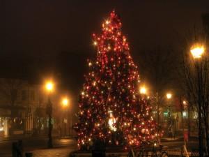 Árbol de Navidad en una calle solitaria