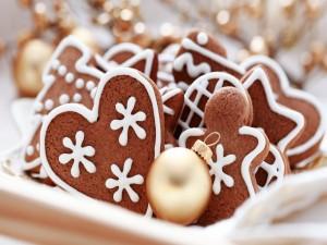 Postal: Galletas de cacao para comer en Navidad